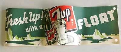 Vintage 1950's Seven Up Soda Float Sign New Old Stock Advertising Litho 7up