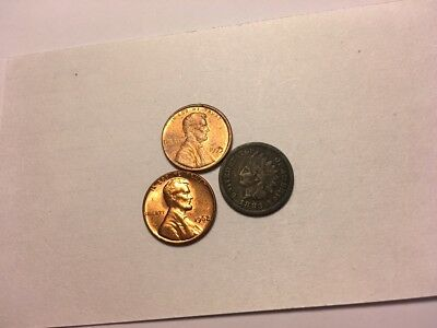 1883 Indian cent + 1962 CH UNC Memorial cent + 1993 Mint Error Off center strike