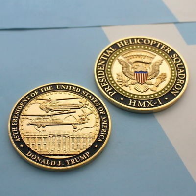 challenge coin WHITE HOUSE DONALD TRUMP Marine Helicopter Squadron One hmx-1 gld