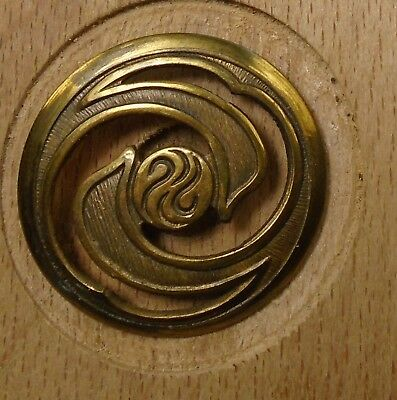 "NICE 1 1/16"" Open Work Swirl Brass Antique Button 698:6"
