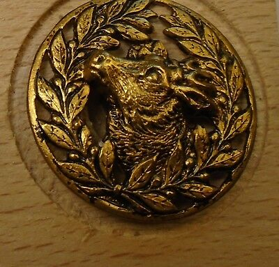 "NICE 15/16"" Open Work Deer Laurel Leaf Brass Antique Button 698:24"