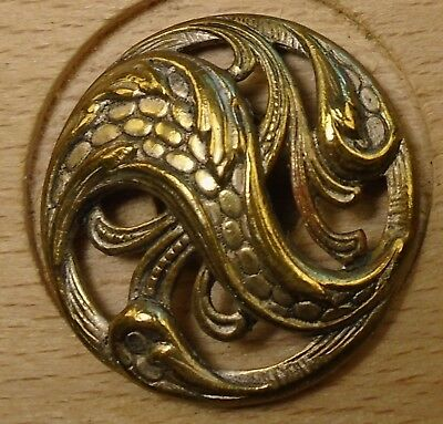 "NICE 15/16"" Open Work Fancy Brass Antique Button 698:22"