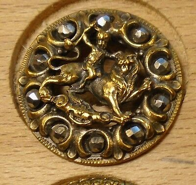 "NICE 15/16"" Open Work Horse Cut Steels  Brass Antique Button 698:17"