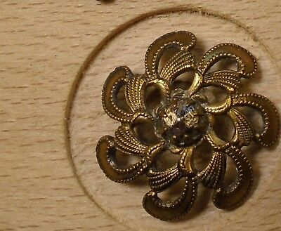 "NICE 3/4"" Open Work Fancy Brass Antique Button 698:26"
