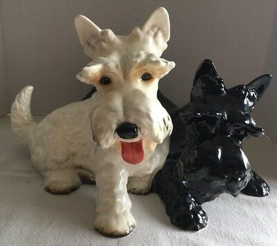 "Goebel Scottie Terriers DOGS HUGE Black & White 15"" Figurine  3002524 W Germany"
