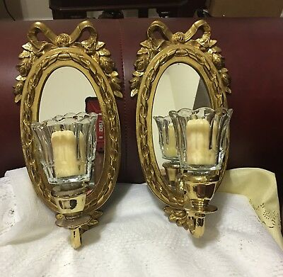 Vintage Pair Goldtone Mirrored Wall Sconces Bow & Roses w/Clear Votive Cups