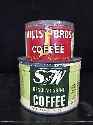 2 LOT Hills Bros 1/2 lb & S&W Coffee 1 lb with lid Tin Can Vintage Keywind