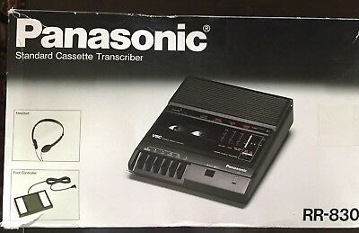 Panasonic Standard Cassette Transcriber RR-830 with Foot Pedal and Headset