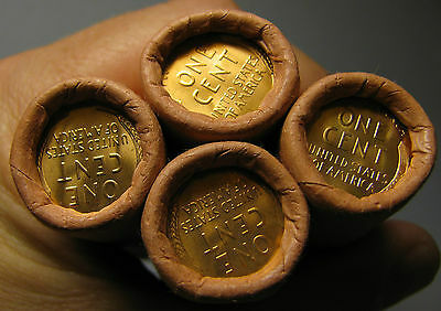 4 ROLLS MYSTERY TAILS/TAILS LINCOLN WHEAT CENT OBW ORIGINAL BANK WRAPPED BU UNCo