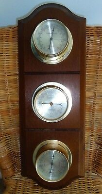 Vintage 1970's Collectable  Barometer, Thermometer & Humidity - Timber Base.