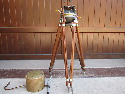 AKELEY GYRO GEARED HEAD WOOD TRIPOD for 35MM HAND CRANKED MOVIE CAMERA