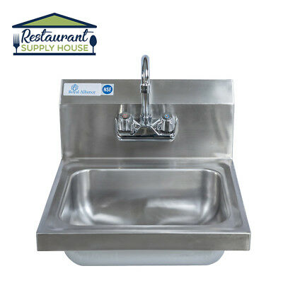 Stainless Steel Wall-Mount Hand Sink w Faucet & Drain NSF Certified Free Shippin