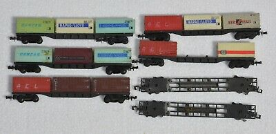 Lima Italy N gauge set of 7 Container wagons
