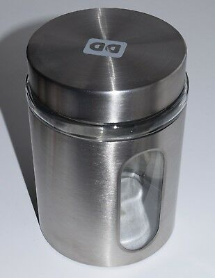 DUNKIN DONUTS counter top stainless glass COFFEE storage JAR CAN CANISTER 2015