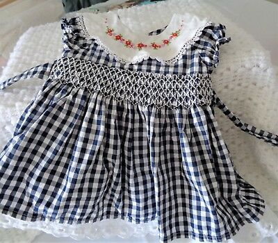 Vintage Baby Dress, Smocking And Embroidery, Size 0