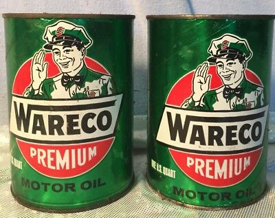 TWO Vintage Quart Wareco Willie Premium Motor Oil Cans Jacksonville IL GREEN