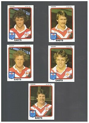 5  EASTS 1981 SCANLENS CARDS - Fahey, Laurie, Harvey, Boustead, Hastings