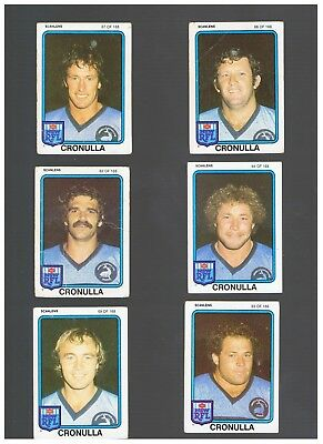 6  1981 Cronulla Scanlens Cards
