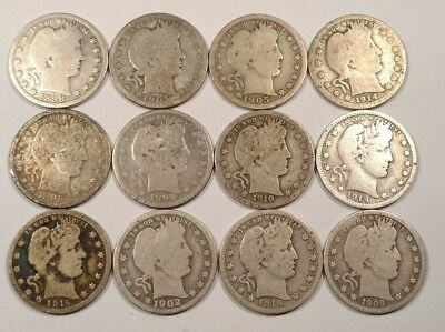Lot of (12) Barber Quarters 90% Silver Varied Dates and Grades