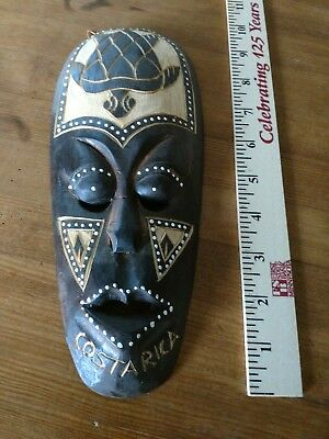 Costa Rica wooden mask tribal folk art carved decorative wall hanging