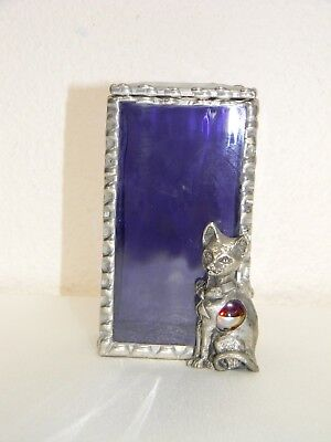 """Rare 4"""" Pewter Cat with Red Mable Tummy Guarding Pewter & Glass Trinket Box"""