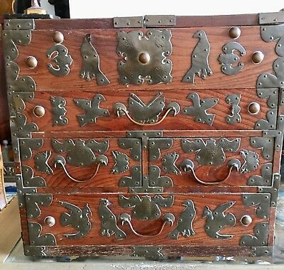 Unusual Antique Korean /japanese Table Top Cabinet Or A Chest