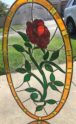 Antique Oval Stained Glass Window