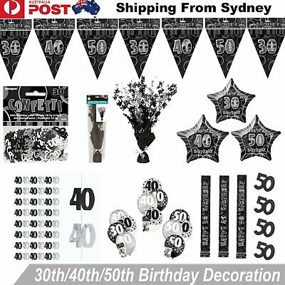 30 40 50th Happy Birthday Balloons Decorations Flag Banner Hanging String Party