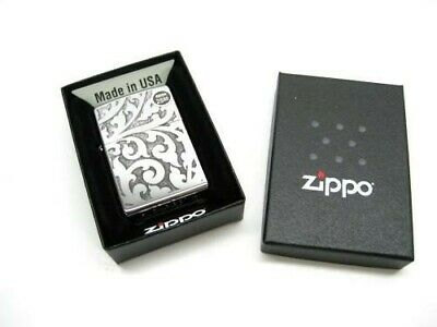 Zippo High Polish Chrome Floral Pattern Classic Windproof Lighter 28530