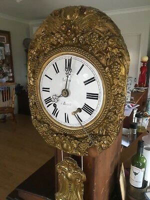 Antique original working French Morbier Comtoise wall clock w/ harvest repousse