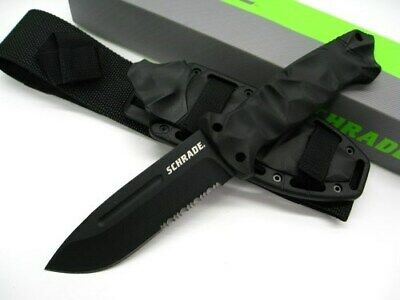 Schrade SCHF40 Tactical Black Full Tang Serrated Survival Knife + Stone + Sheath