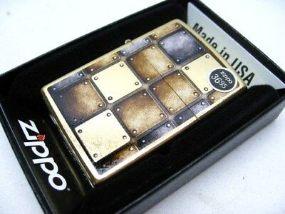 Zippo Full Size Gold Dust Silver Gold Square Designs Windproof Lighter 28539