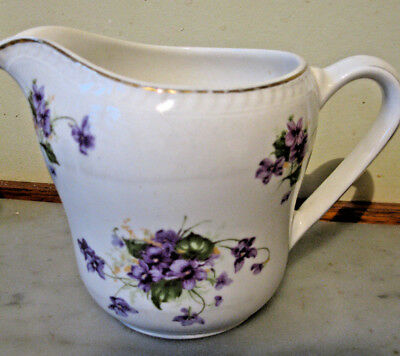 Vintage Portland English Pottery Jug With Violets And Gold Trim
