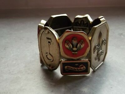Vintage 80's Huge Born to Rule Gold Link Bracelet Enamel Bee Fleur de Lis
