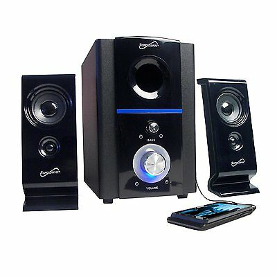 Supersonic Computer Laptop Pc Mac Subwoofer Speaker System Fm Radio Usb Sd New