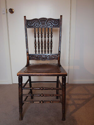 CARVED SPINDLE BACKED KITCHEN CHAIR early 1900's WOODEN VINTAGE