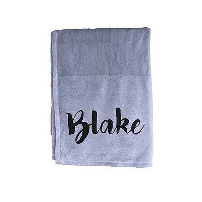 Personalised baby blanket - Boy Blue Blanket With Modern Black Text