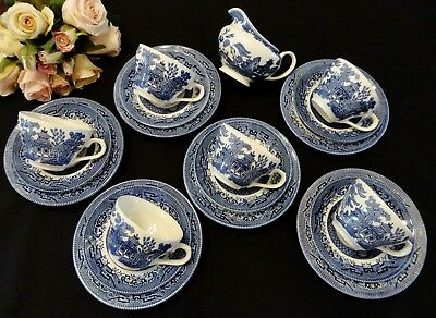 Six Churchill Blue Willow Trios & Creamer Made in England