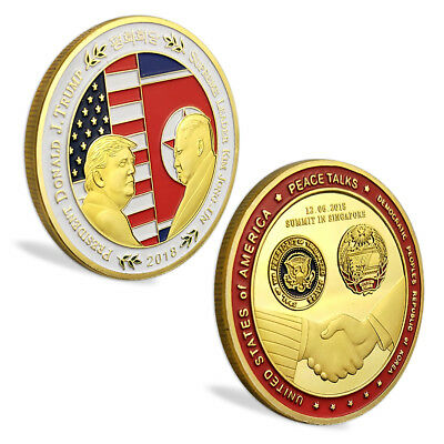 Donald Trump Kim Jong-Un 2018 Singapore Summit, Peace Talks Gold Coin