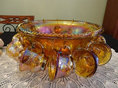 Vintage Honey Coloured Carnival Glass Indiana Glass Company Punch Set