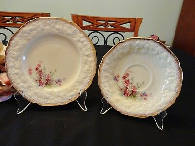 """Vintage Crown Ducal Florentine """"Picardy"""" Side Plate & Saucer Circa 1940's"""
