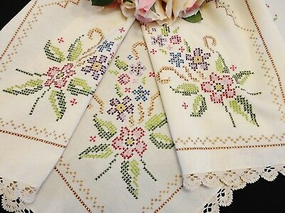 Two Vintage Style Hand Worked Cross Stitch Table Toppers