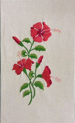 Rare Beautiful Jamaican Embroidered Linen HIBISCUS ART PANEL-Perfect for Framing