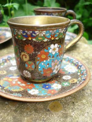 Signed Antique Japanese Cloisonne Cups & Saucers