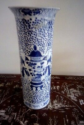 Antique Chinese Kangxi Period Trumpet shaped Blue and White vase  - REPAIRED