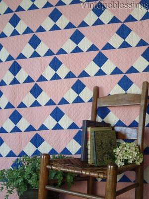 """Charming VINTAGE 30s Sugarloaf Pink & Blue QUILT 81"""" x 56"""" Cottage Home Perfect"""