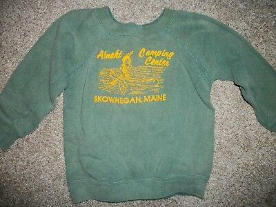 Vintage Authentic 50's Child's Camp Fleece lined Sweatshirt top stitching Indian