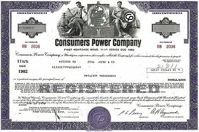 Consumers Power Company, 1976, 11 1/4% First Mortgage Bond due 1982 (20.000 $)