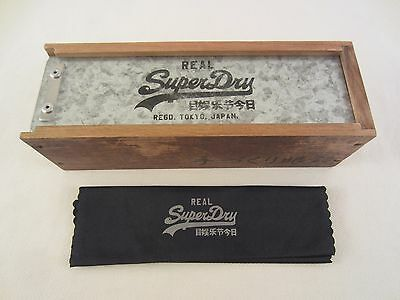 Superdry Brillenetui Holz Metall Etui Brille Sonnenbrille Tokyo Japan Real +Tuch