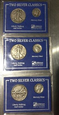 X 3 Two Silver Classics Littleton Coin Walking Liberty Half and Mercury Dime Set